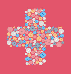 colorful pills tablets icons in cross shape vector image vector image