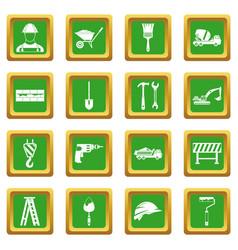 Construction icons set green vector