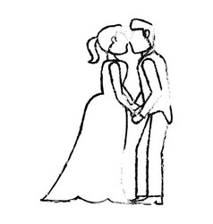 couple wedding love kiss sketch vector image
