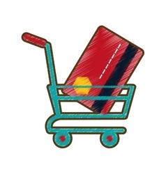 Drawing shopping cart online credit card bank vector
