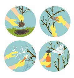 Flat icons with seasonal activities in garden vector image
