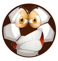 Football with angry face vector