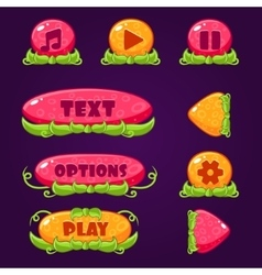 Game Buttons with nature elements vector image vector image