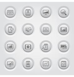 Grey button design icon set vector