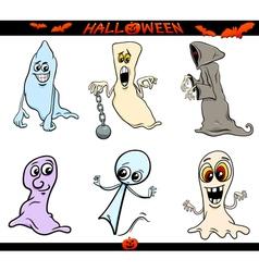 halloween ghosts cartoon set vector image