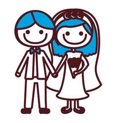 Hand drawing silhouette caricature couple in vector