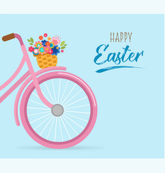 Happy easter card with flowers in the basket vector