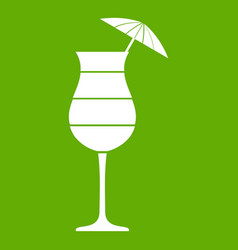 Layered cocktail with umbrella icon green vector