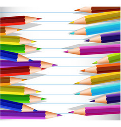 Line paper with many color pencils on sides vector