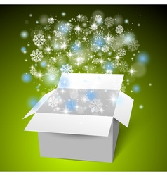 Open white gift box on the snow christmas green vector