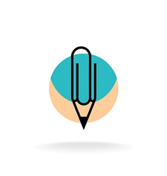 Pencil and paperclip symbol cleric office logo vector