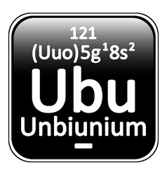 Periodic table element unbinilium icon vector