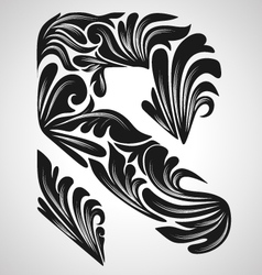 R calligraphic element vector image vector image