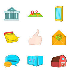 Realestate icons set cartoon style vector