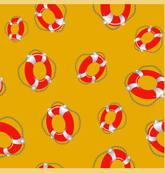 Red lifebuoy random seamless pattern vector