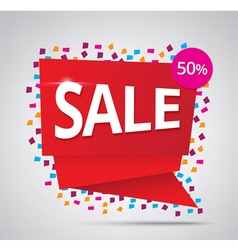 sale red banner 50 discount on confetti background vector image vector image