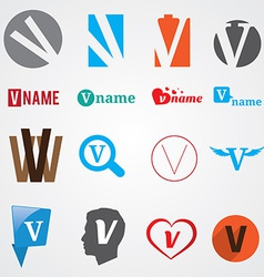 Set of alphabet symbols of letter V vector image vector image