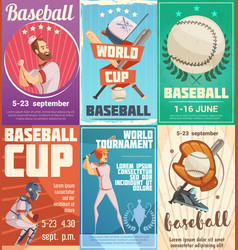 set of baseball posters in retro style vector image