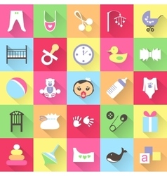 Set of colorful baby items with shadows vector image vector image