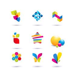 Set of minimal geometric multicolor symbols and vector