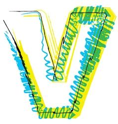 Sketch font Letter V vector image vector image