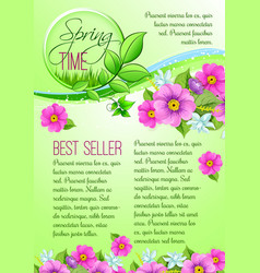 Spring sale poster of pink flowers vector