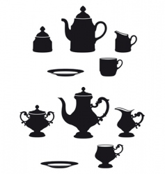tea sets vector image