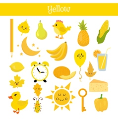 Yellow learn the color education set of primary vector