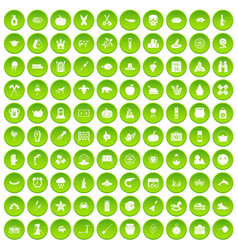 100 autumn holidays icons set green vector