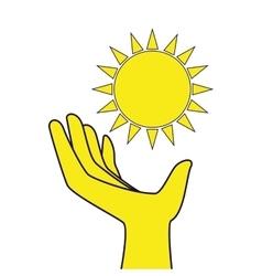 Sun glow hand icon vector