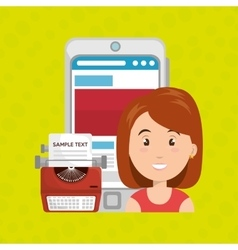 woman smartphone search new vector image