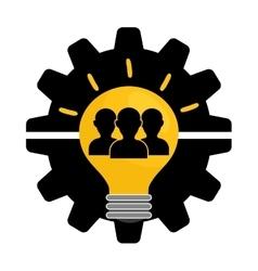 Pictogram gears bulb teamwork support design vector