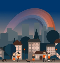 Rainbow in the city vector
