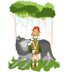 Little red riding hood with wolf vector image