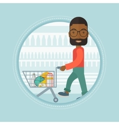 Customer walking in store with shopping trolley vector