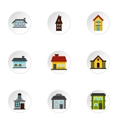 Dwelling icons set flat style vector