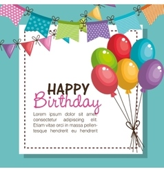 Happy birthday party invitation with balloons air vector