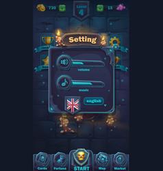 monster battle gui setting volume window vector image