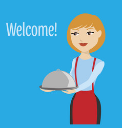 waitress in uniform isolated on blue background vector image