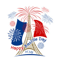 14 july bastille day paris design with firework vector