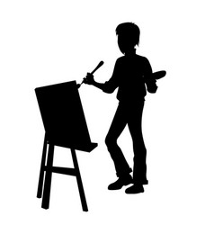 Artist at work silhouette vector