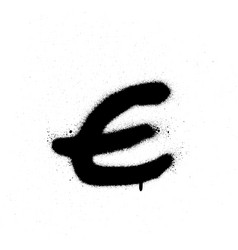 Sprayed e font graffiti with leak in black vector