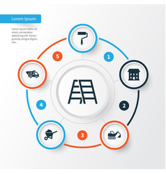 Architecture icons set collection of home digger vector