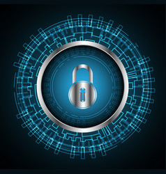 Cyber security lock technology circle vector