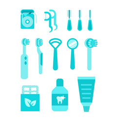 Dental care oral hygiene individual tools vector