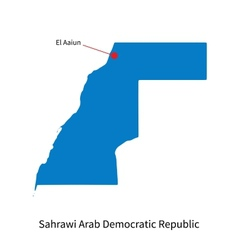 Detailed map of sahrawi arab democratic republic vector