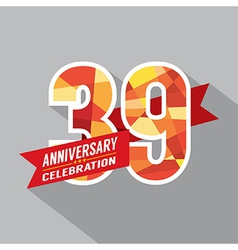 39th Years Anniversary Celebration Design vector image