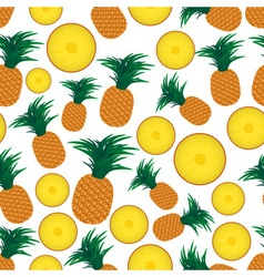 Colorful pineapple fruits and half fruits seamless vector