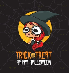 Halloween trick or treat witch costume vector