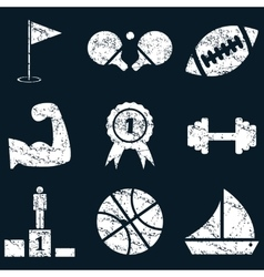 Sport icon set white grunge vector